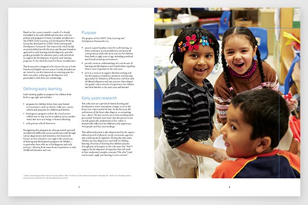 Purpose of the early learning and development framework by Council of Ministers of Education, Canada
